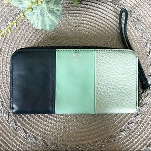 Fossil multi-colored zip around wallet